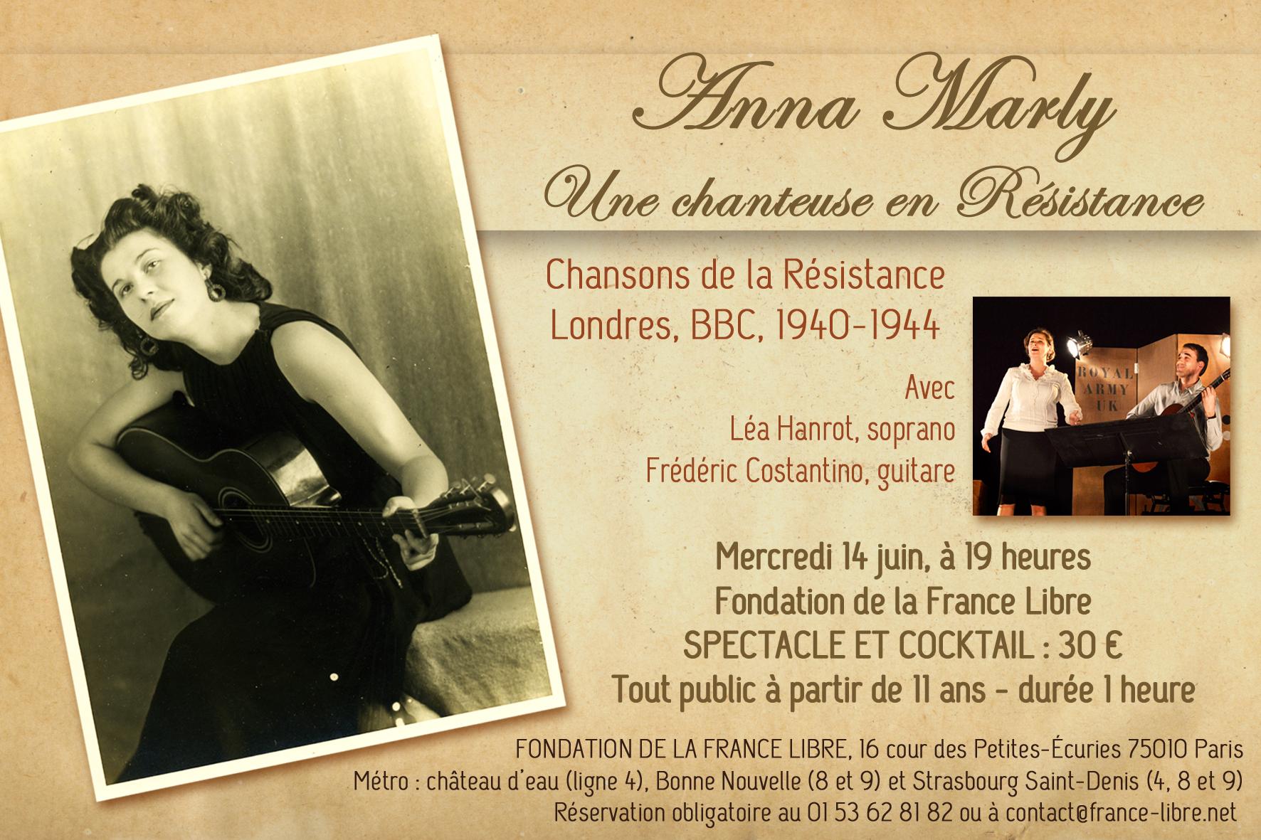 Anna Marly, une chanteuse en résistance (spectacle)