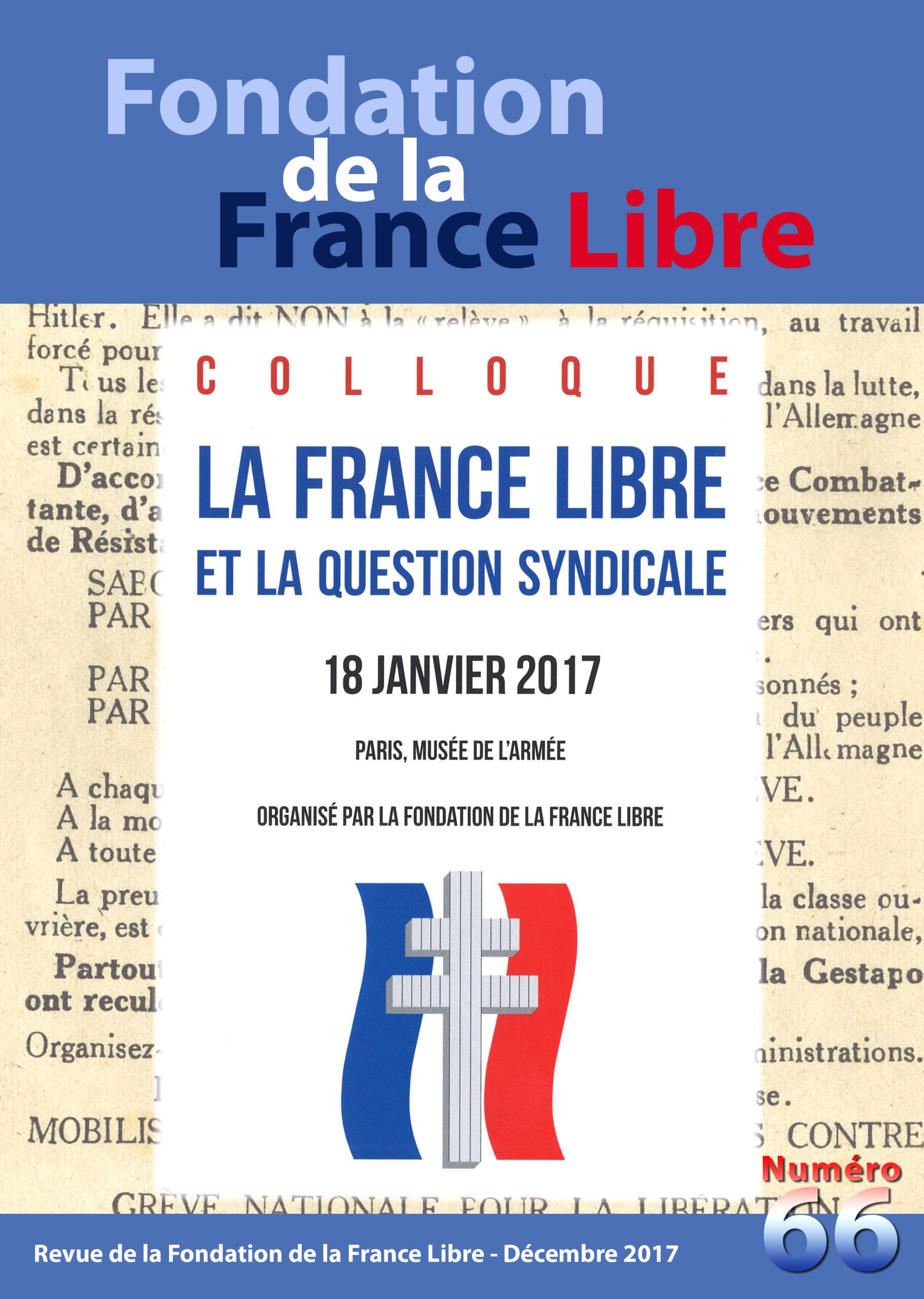 Fondation de la France Libre, n°  66, décembre 2017