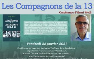 Henri Weill, Les Compagnons de la Libération de la 13 (conférence en ligne)