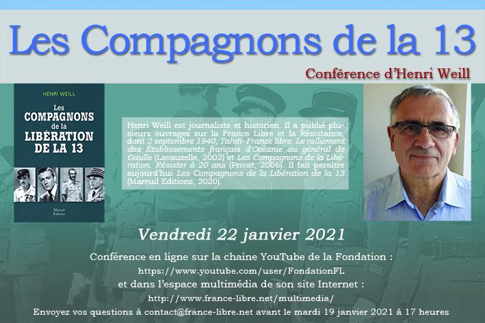 Les Compagnons de la Libération de la 13 (conférence en ligne)