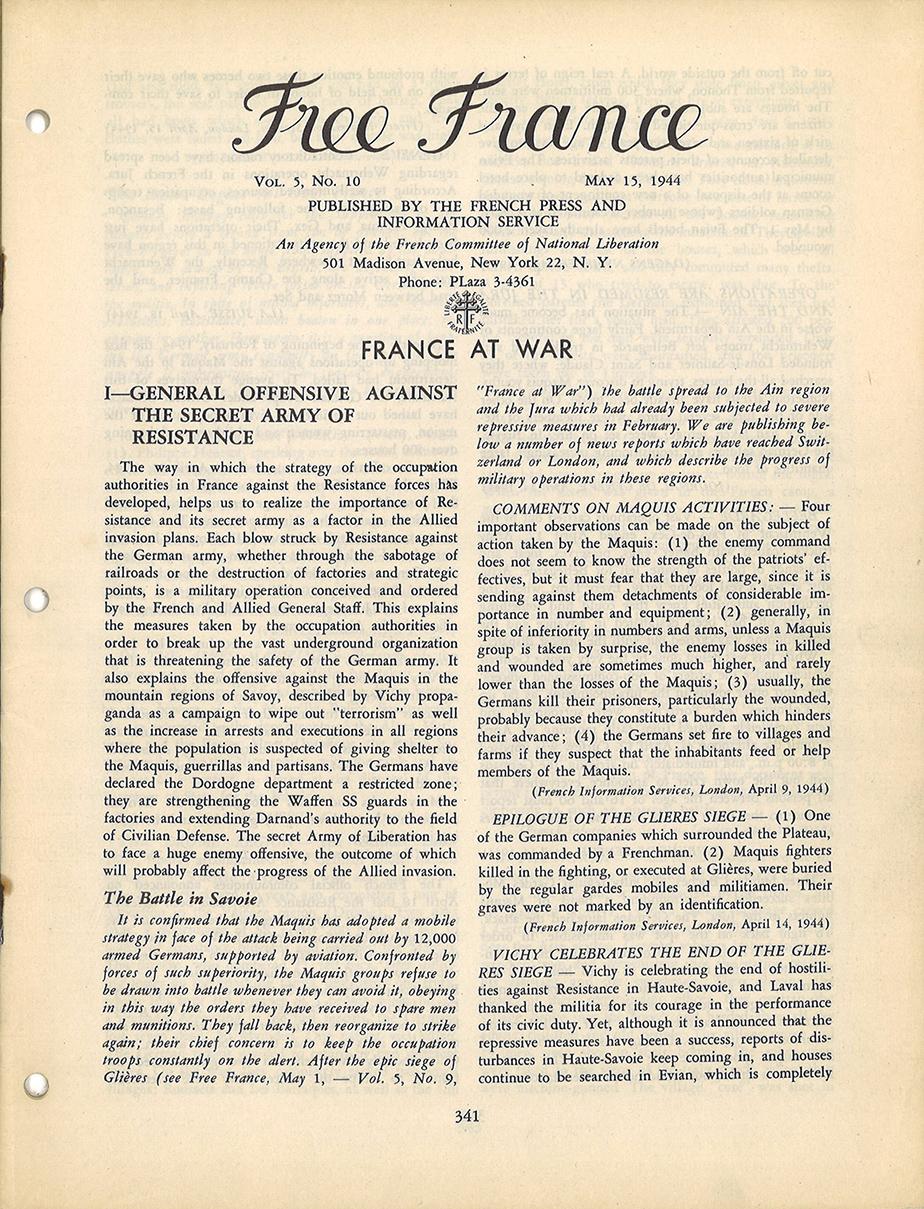 La Résistance intérieure et sa répression par les Allemands avant le débarquement