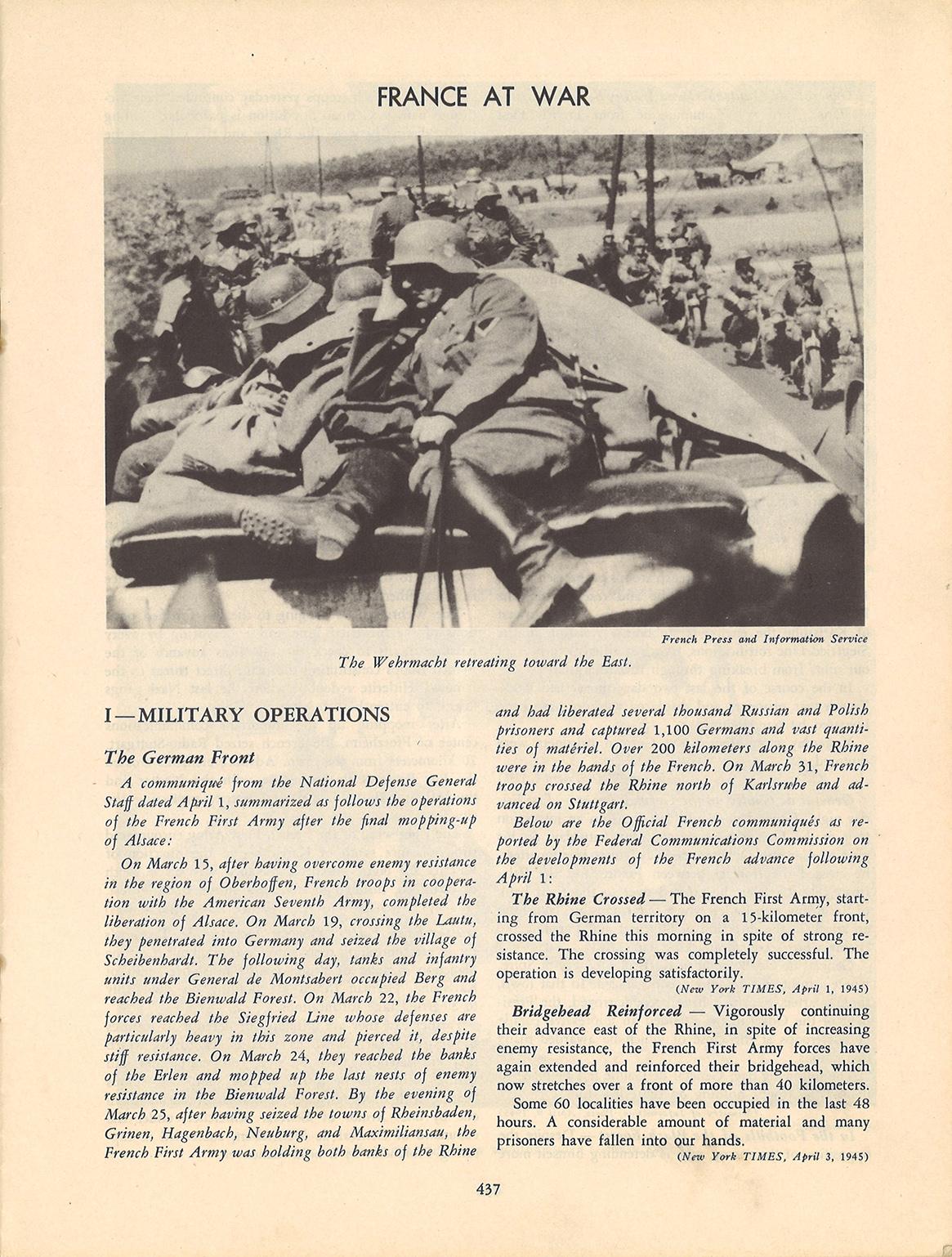 Les ultimes campagnes de 1945 vues par la presse